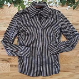 New York & Company Striped Button Up Blouse